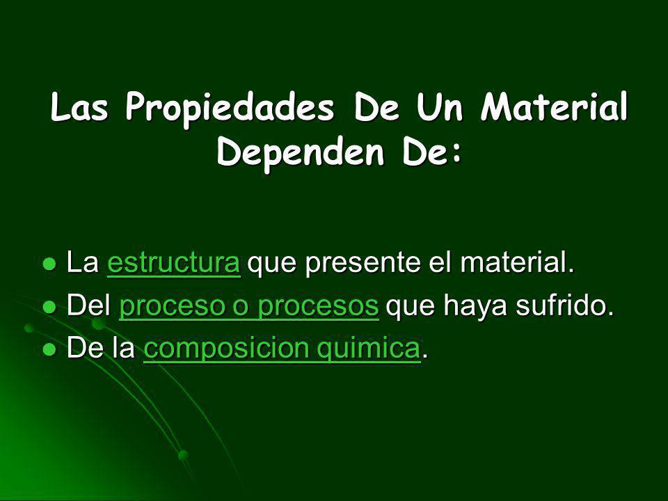 Son las características inherentes que permiten diferenciar un material de otros, desde el punto de vista del comportamiento mecánico de los materiale