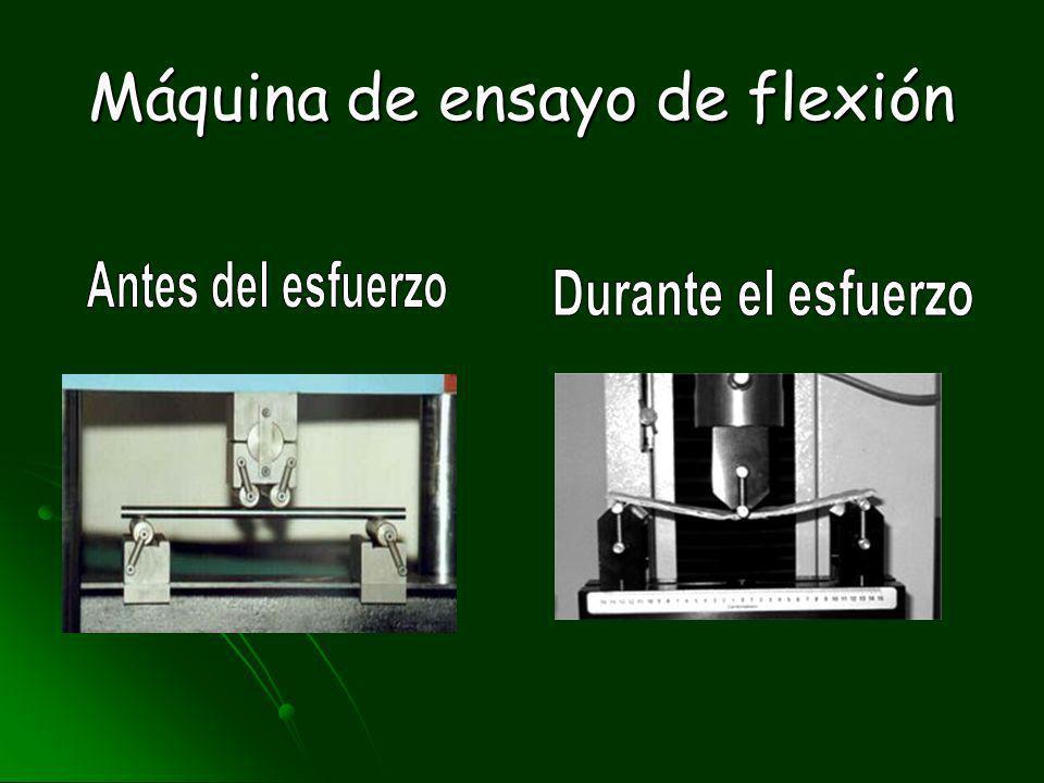 ENSAYO DE FLEXIÓN Consiste en someter la probeta del material, apoyada libremente en sus extremos, a una fuerza aplicada en el centro, o dos iguales a