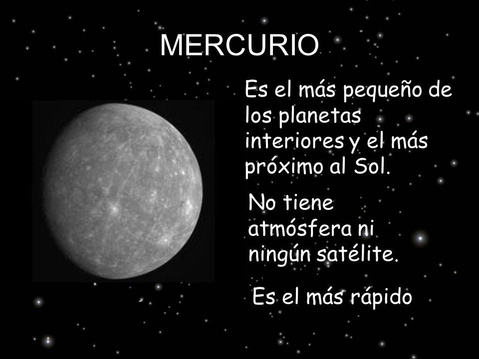 MERCURIO Es el más pequeño de los planetas interiores y el más próximo al Sol. No tiene atmósfera ni ningún satélite. Es el más rápido