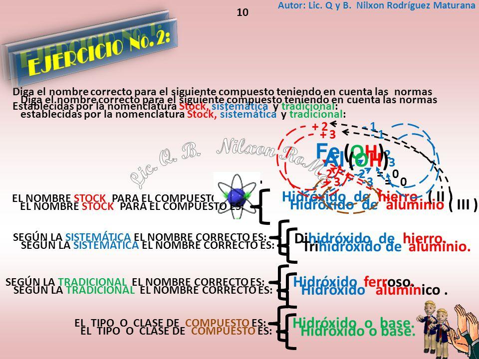 Hidróxido dehierro( II ) Fe (OH) 2 - 1+ 2 2-= 0+2 EL NOMBRE STOCK PARA EL COMPUESTO ES: Diga el nombre correcto para el siguiente compuesto teniendo e