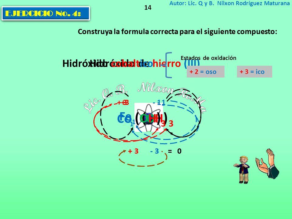 EJERCICIO No. 3: Construya la formula correcta para el siguiente compuesto: Autor: Lic. Q y B. Nilxon Rodríguez Maturana 14 Hidróxido de hierro (III)