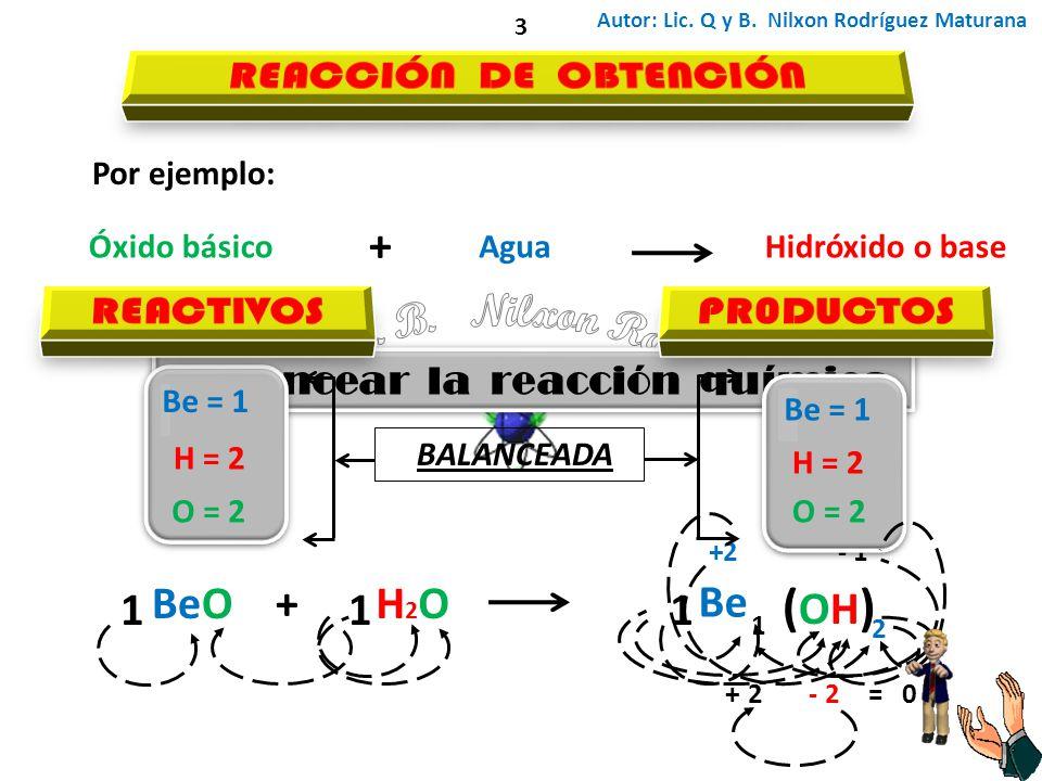 Autor: Lic. Q y B. Nilxon Rodríguez Maturana 3 Por ejemplo: Óxido básico + AguaHidróxido o base BeO+H2OH2O Be - 1+2 2-= 0+2 (OH) (OH) Balancear la rea