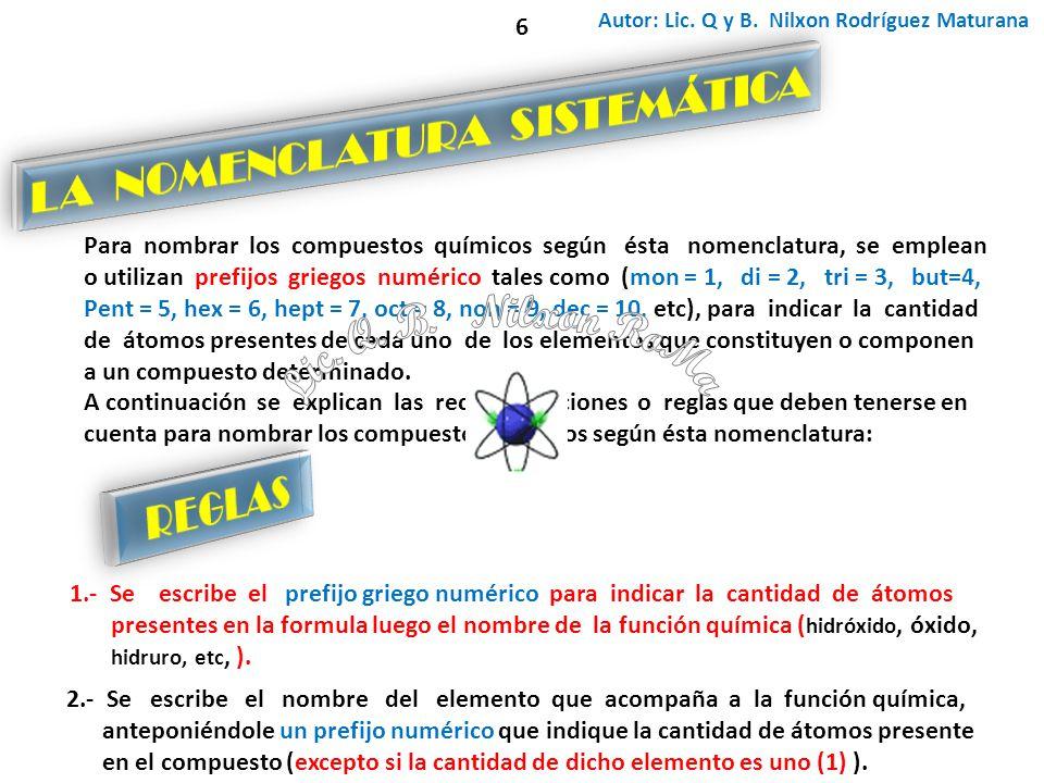 Autor: Lic. Q y B. Nilxon Rodríguez Maturana Para nombrar los compuestos químicos según ésta nomenclatura, se emplean o utilizan prefijos griegos numé