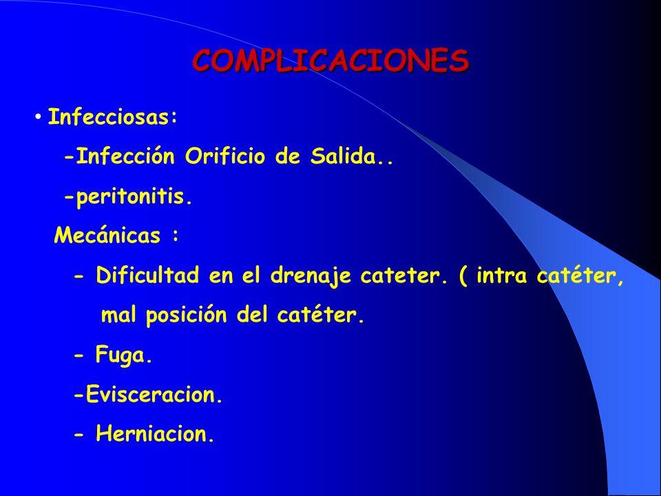 COMPLICACIONES Infecciosas: -Infección Orificio de Salida.. -peritonitis. Mecánicas : - Dificultad en el drenaje cateter. ( intra catéter, mal posició