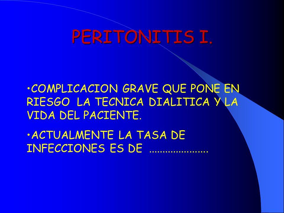 PERITONITIS I. COMPLICACION GRAVE QUE PONE EN RIESGO LA TECNICA DIALITICA Y LA VIDA DEL PACIENTE. ACTUALMENTE LA TASA DE INFECCIONES ES DE............