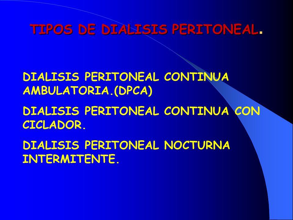 TIPOS DE DIALISIS PERITONEAL. DIALISIS PERITONEAL CONTINUA AMBULATORIA.(DPCA) DIALISIS PERITONEAL CONTINUA CON CICLADOR. DIALISIS PERITONEAL NOCTURNA