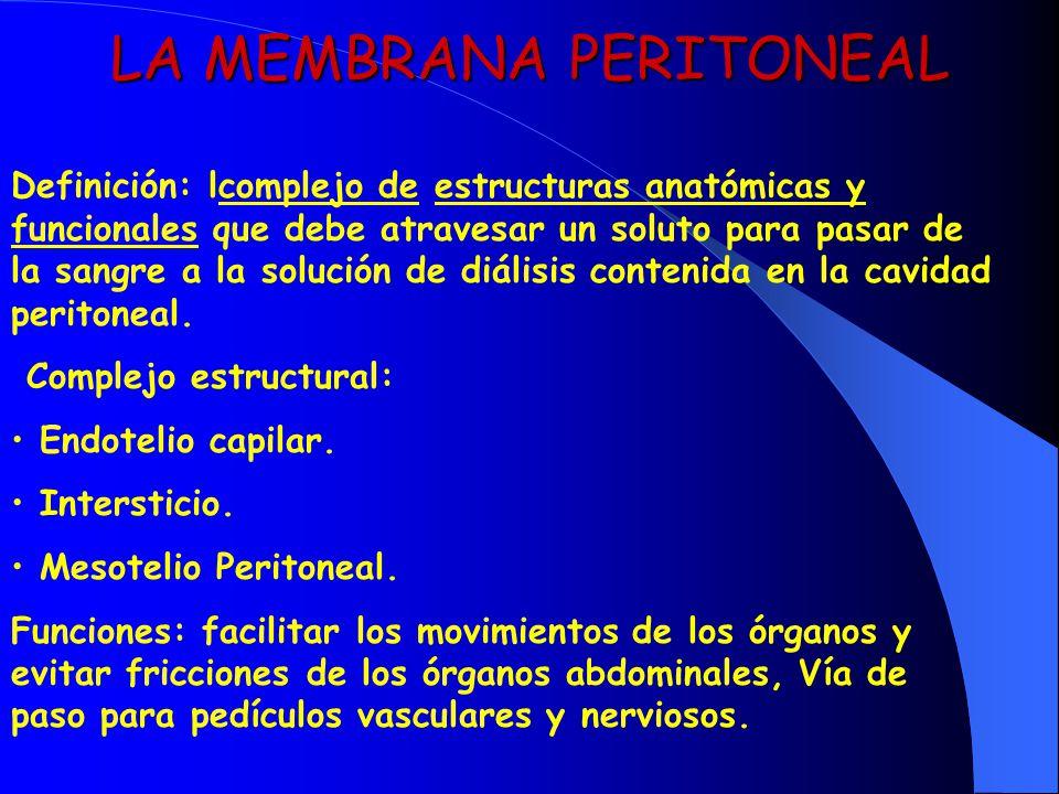 LA MEMBRANA PERITONEAL Definición: lcomplejo de estructuras anatómicas y funcionales que debe atravesar un soluto para pasar de la sangre a la solució