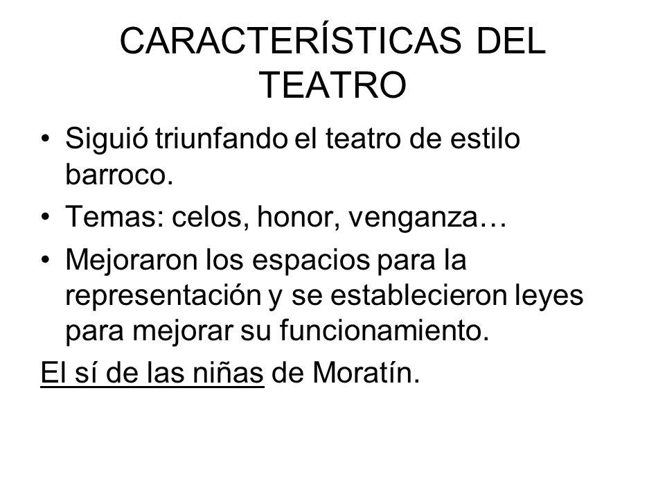 CARACTERÍSTICAS DEL TEATRO Siguió triunfando el teatro de estilo barroco.