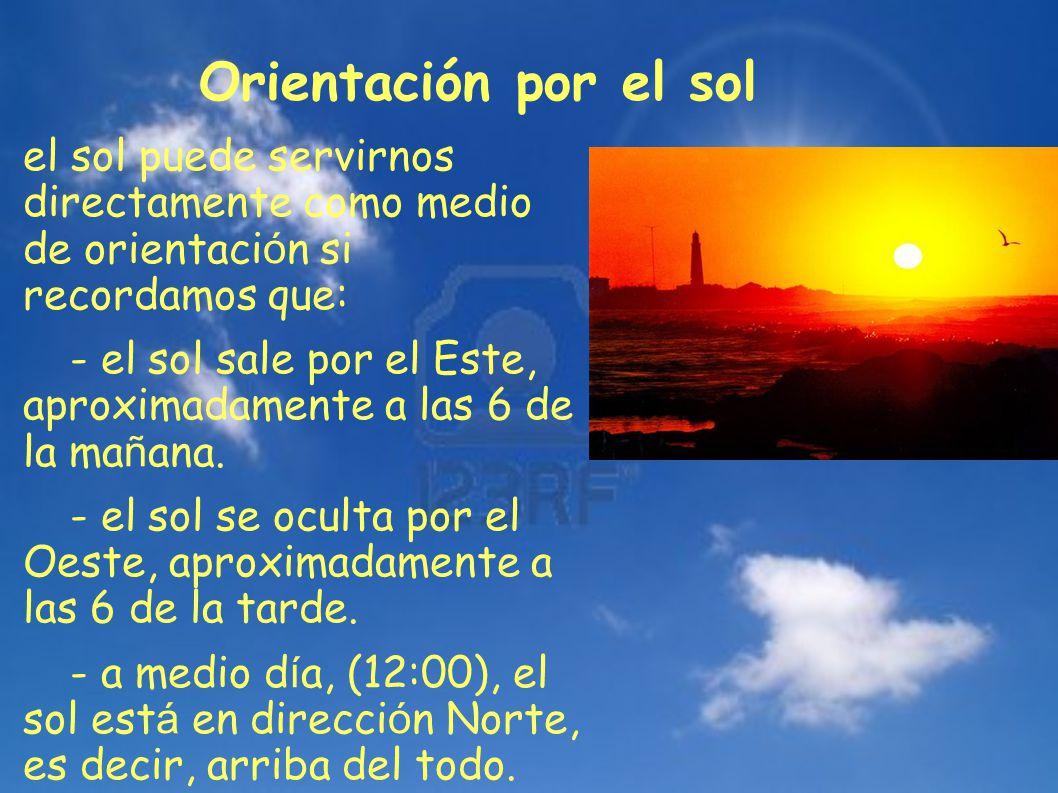 el sol puede servirnos directamente como medio de orientaci ó n si recordamos que: - el sol sale por el Este, aproximadamente a las 6 de la ma ñ ana.