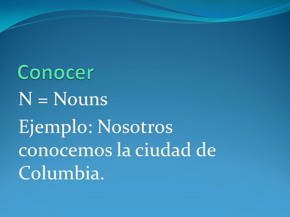 N = Nouns Ejemplo: Nosotros conocemos la ciudad de Columbia.