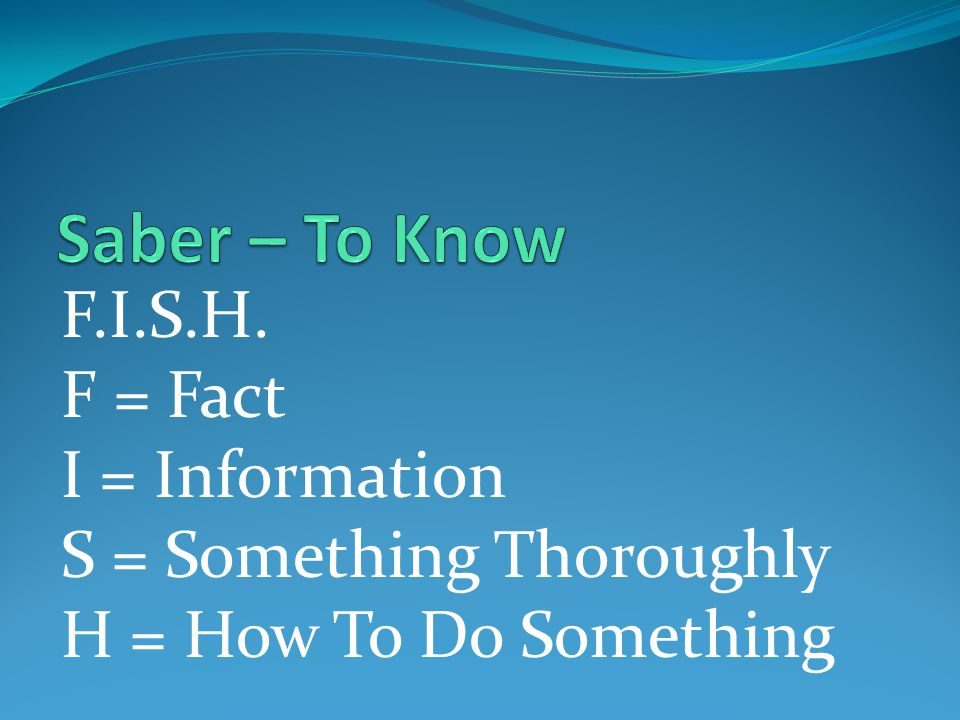 F.I.S.H. F = Fact I = Information S = Something Thoroughly H = How To Do Something