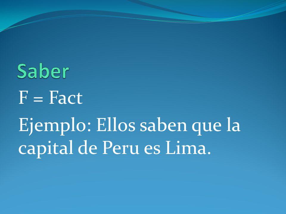 F = Fact Ejemplo: Ellos saben que la capital de Peru es Lima.