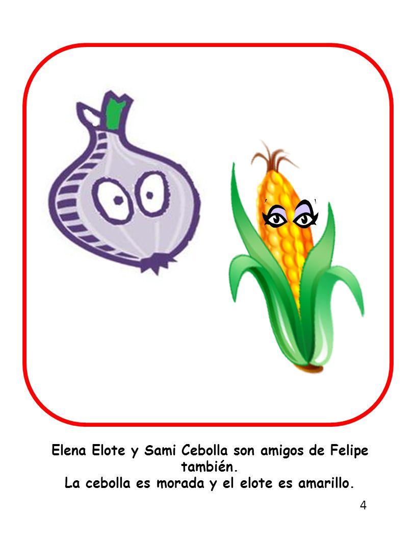 Elena Elote y Sami Cebolla son amigos de Felipe también.