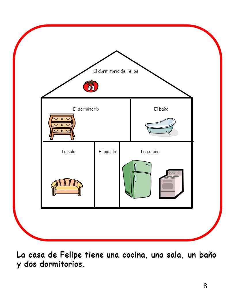 La casa de Felipe tiene una cocina, una sala, un baño y dos dormitorios.