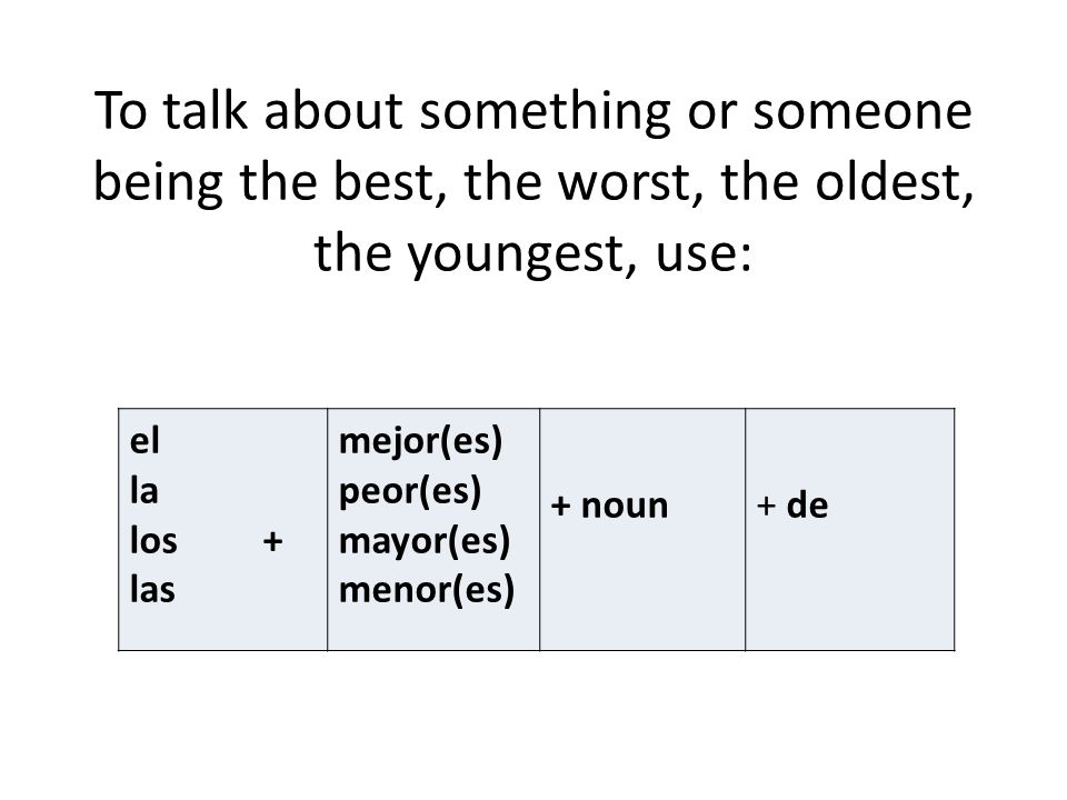 To talk about something or someone being the best, the worst, the oldest, the youngest, use: el la los + las mejor(es) peor(es) mayor(es) menor(es) +