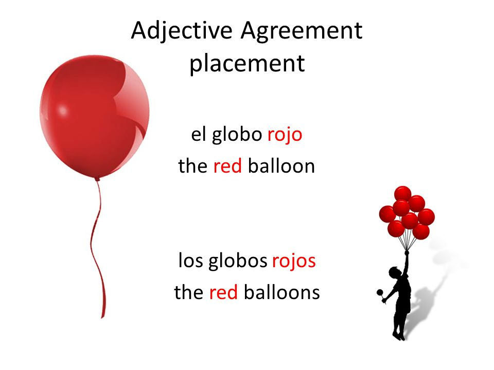Adjective Agreement placement el globo rojo the red balloon los globos rojos the red balloons