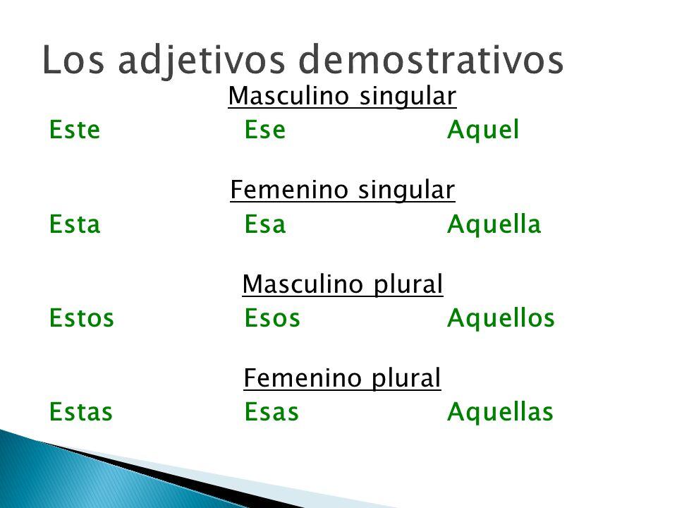 Los pronombres demostrativos tienen la misma forma que los adjetivos, pero llevan acento ortográfico (escrito) Ésteéseaquél Éstaésaaquélla Éstosésosaquéllos Éstasésasaquéllas