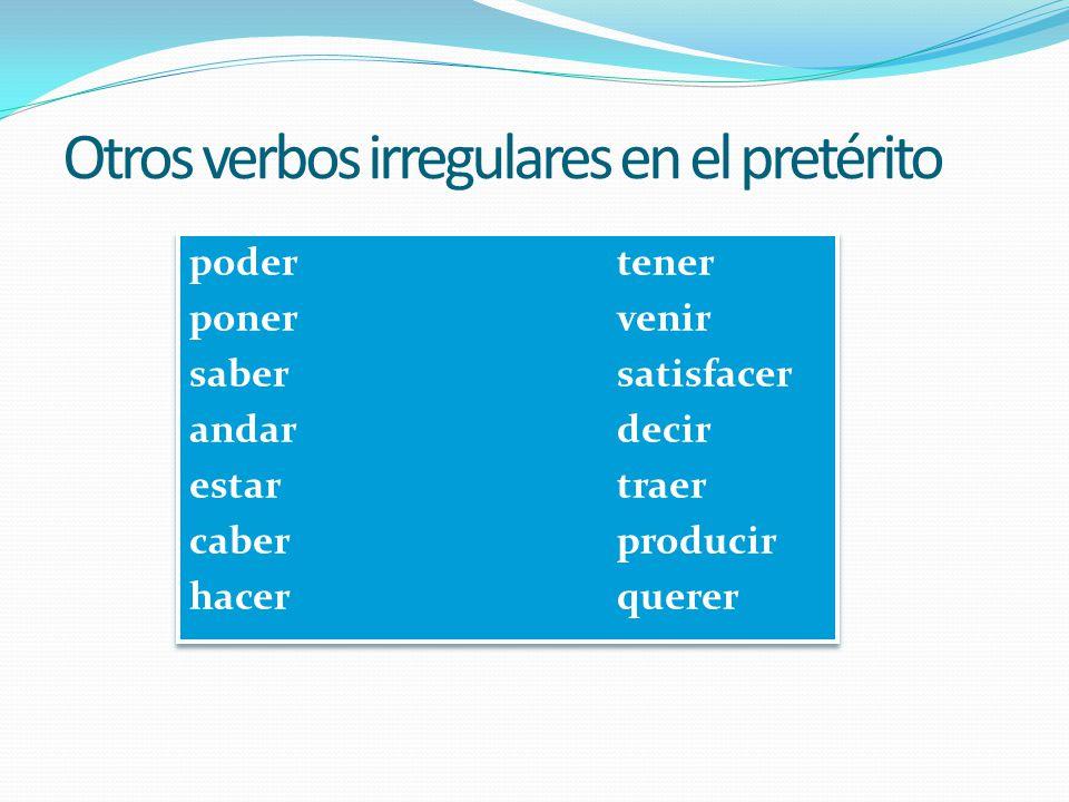 Desinencias de verbos regulares en el pretérito Verbos en –ARVerbos en –ER / -IR yo -é-í tú -aste-iste él / ella /Ud.-ó-ió nosotros-amos-imos vosotros