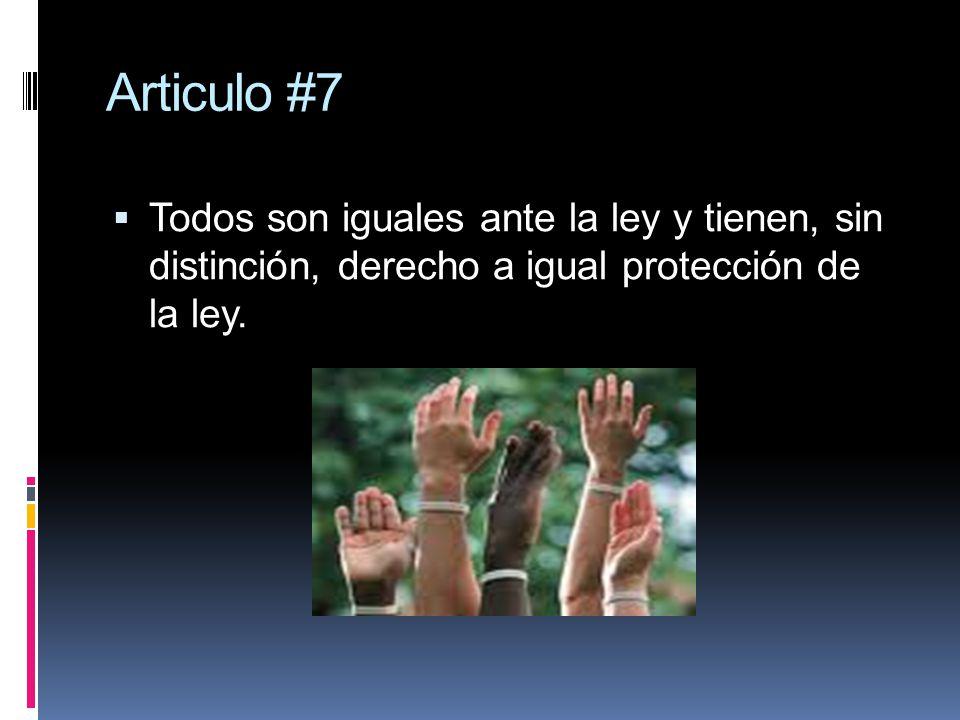 Articulo #7 Todos son iguales ante la ley y tienen, sin distinción, derecho a igual protección de la ley.