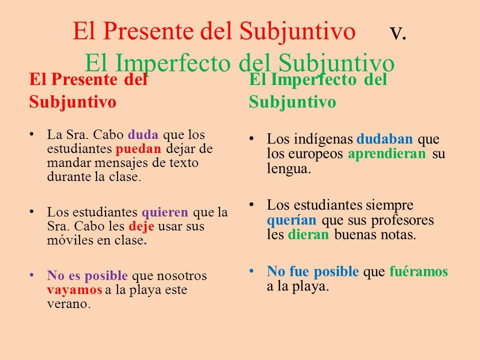 El Presente del Subjuntivo v.El Imperfecto del Subjuntivo El Presente del Subjuntivo La Sra.