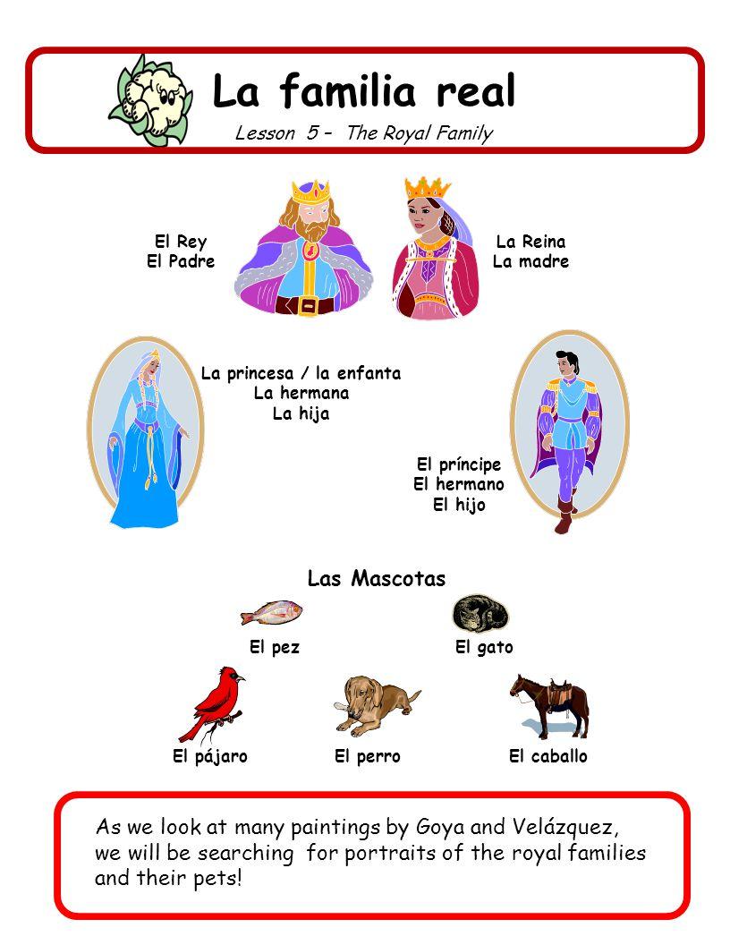 El príncipe El hermano El hijo La princesa / la enfanta La hermana La hija La familia real Lesson 5 – The Royal Family El Rey El Padre La Reina La mad