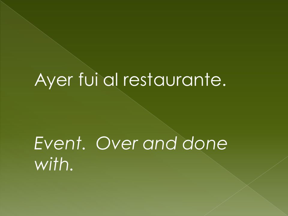 Ayer fui al restaurante. Event. Over and done with.