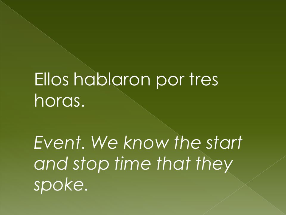 Ellos hablaron por tres horas. Event. We know the start and stop time that they spoke.