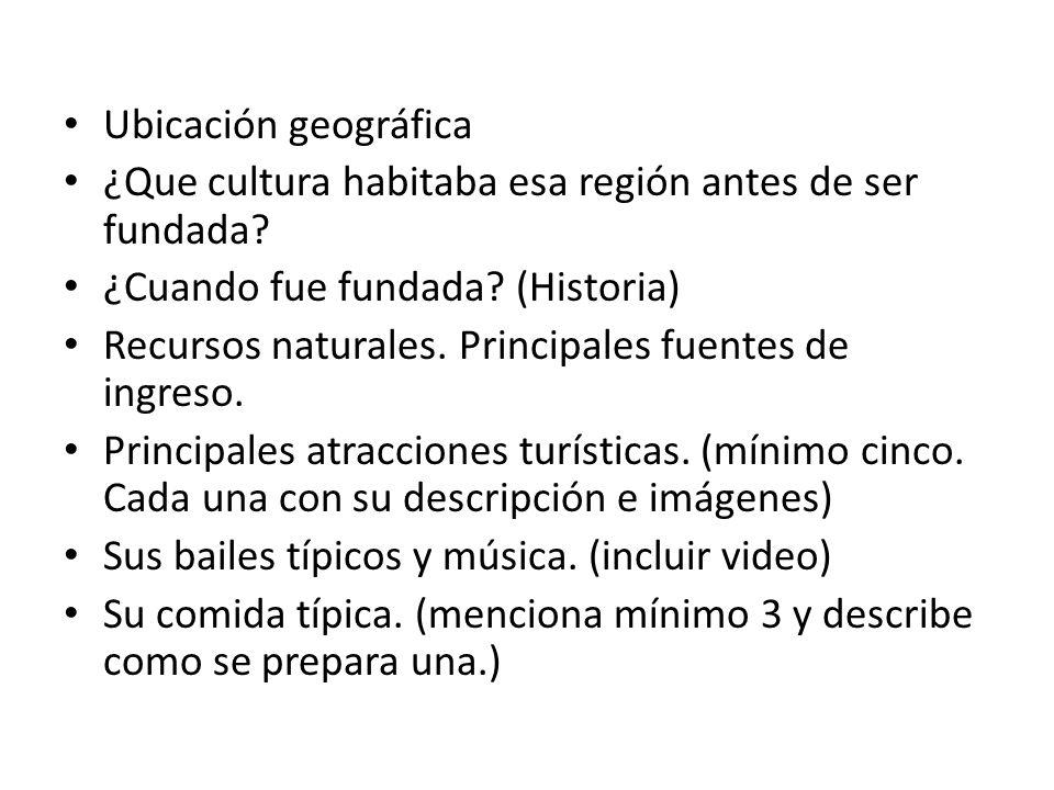 Ubicación geográfica ¿Que cultura habitaba esa región antes de ser fundada.