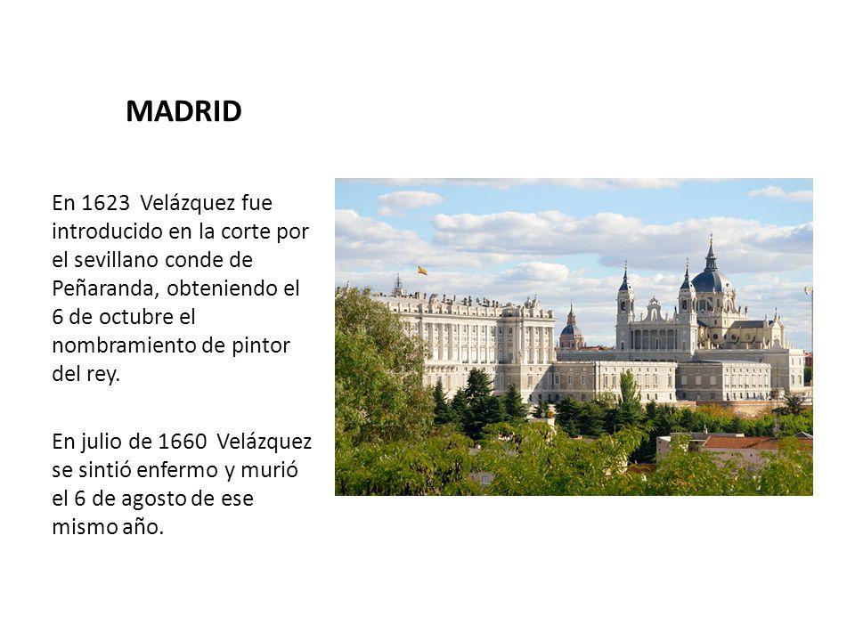 MADRID En 1623 Velázquez fue introducido en la corte por el sevillano conde de Peñaranda, obteniendo el 6 de octubre el nombramiento de pintor del rey.