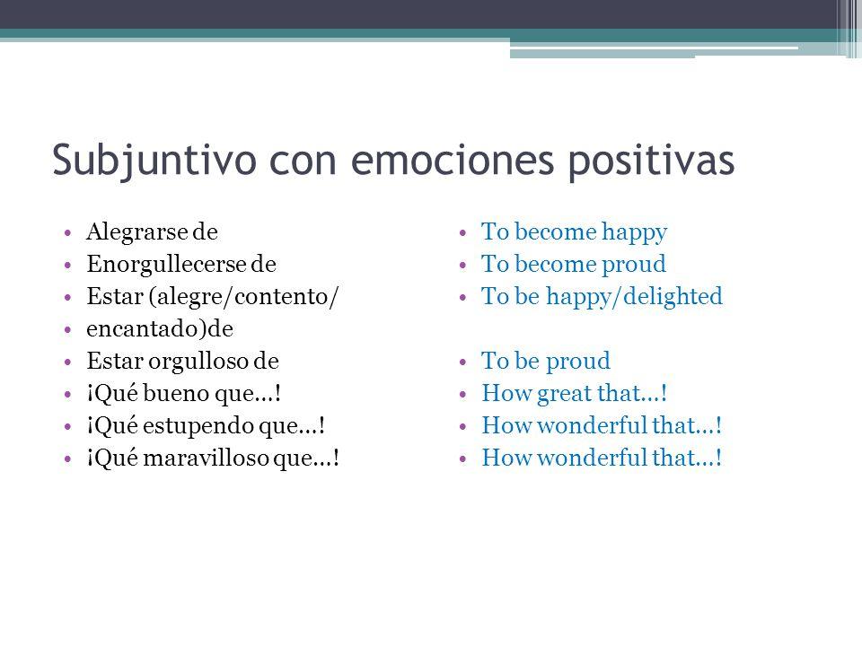 Subjuntivo con emociones positivas Alegrarse de Enorgullecerse de Estar (alegre/contento/ encantado)de Estar orgulloso de ¡Qué bueno que…! ¡Qué estupe