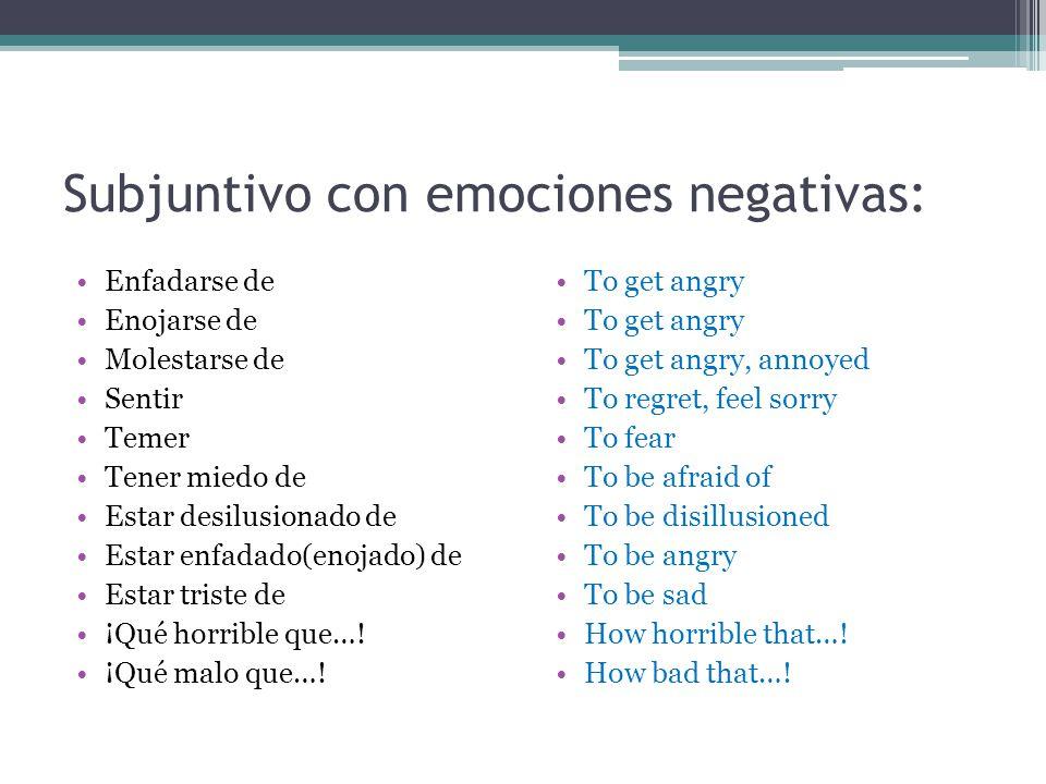 Subjuntivo con emociones negativas: Enfadarse de Enojarse de Molestarse de Sentir Temer Tener miedo de Estar desilusionado de Estar enfadado(enojado)