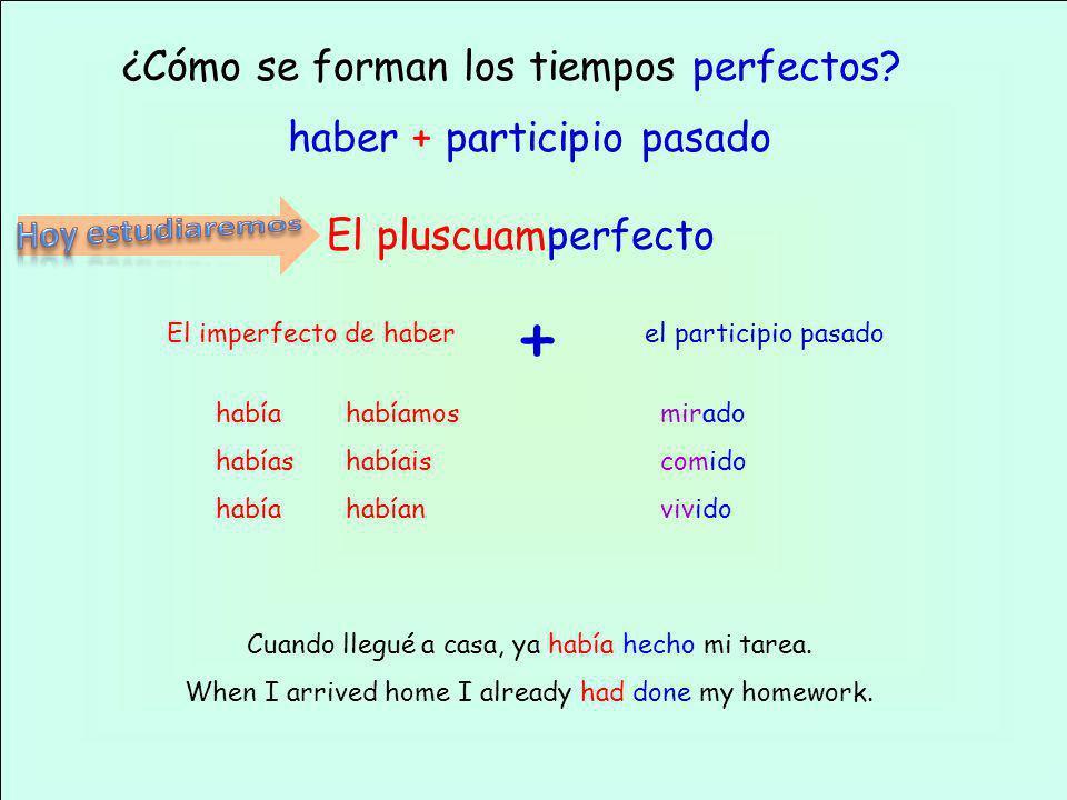 ¿Cómo se forman los tiempos perfectos? haber + participio pasado El pluscuamperfecto El imperfecto de haberel participio pasado + mirado comido vivido