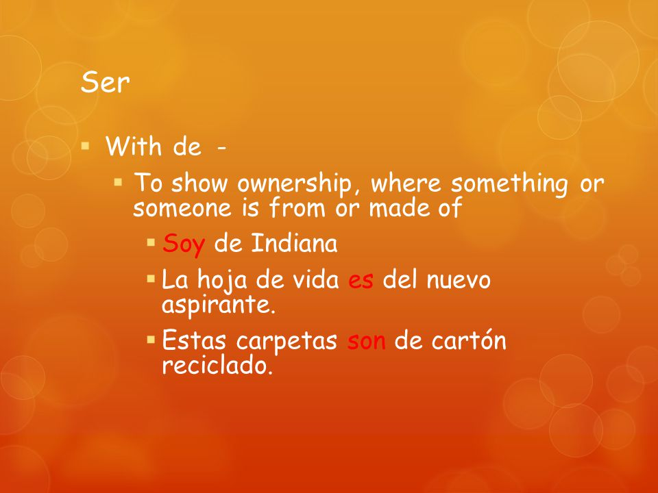 Ser With certain adjectives to say what something is like La nueva jefa es simpática.