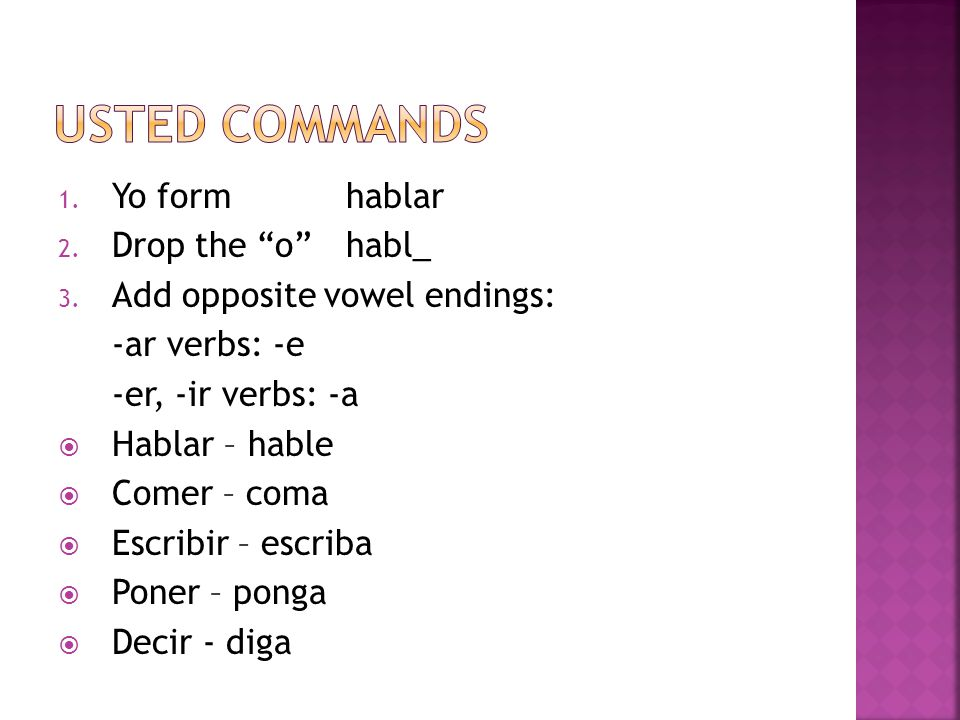 1. Yo formhablar 2. Drop the ohabl_ 3.