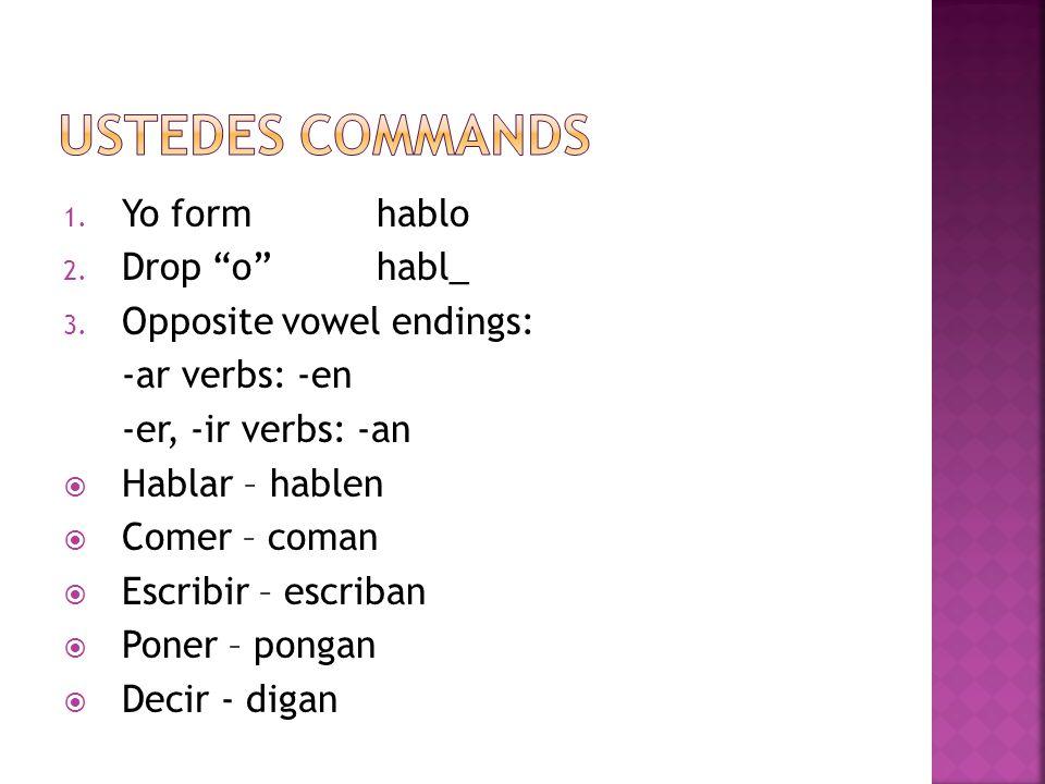 1. Yo formhablo 2. Drop ohabl_ 3. Opposite vowel endings: -ar verbs: -en -er, -ir verbs: -an Hablar – hablen Comer – coman Escribir – escriban Poner –
