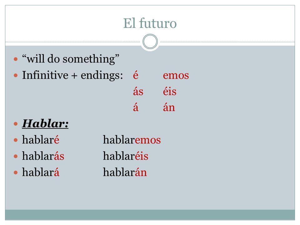 El futuro will do something Infinitive + endings: éemos áséis áán Hablar: hablaréhablaremos hablaráshablaréis hablaráhablarán