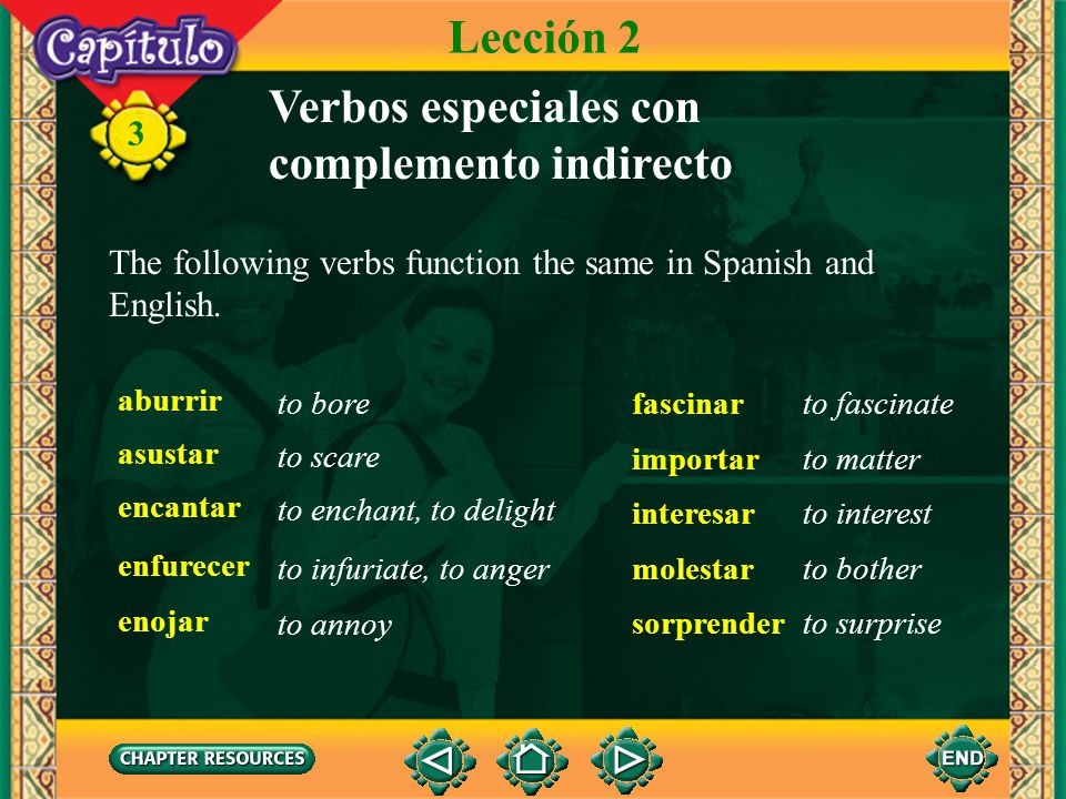 3 Verbos especiales con complemento indirecto These verbs take an indirect object pronoun in both Spanish and English.