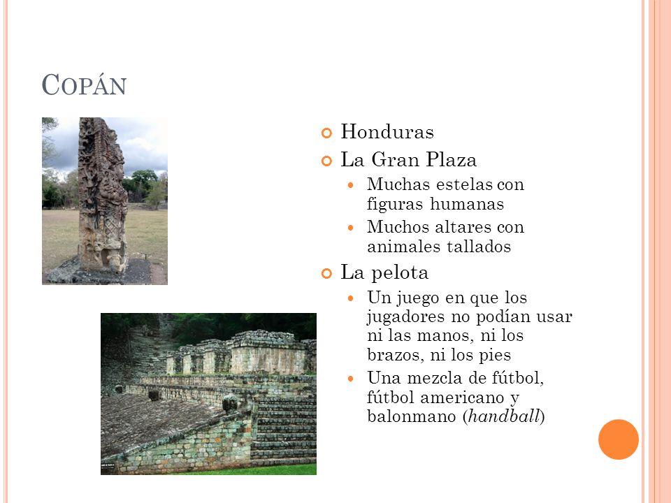C OPÁN Honduras La Gran Plaza Muchas estelas con figuras humanas Muchos altares con animales tallados La pelota Un juego en que los jugadores no podía