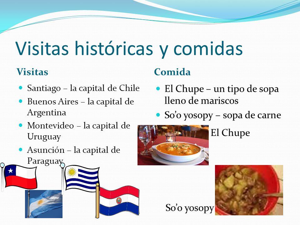 Visitas históricas y comidas Visitas Comida Santiago – la capital de Chile Buenos Aires – la capital de Argentina Montevideo – la capital de Uruguay A