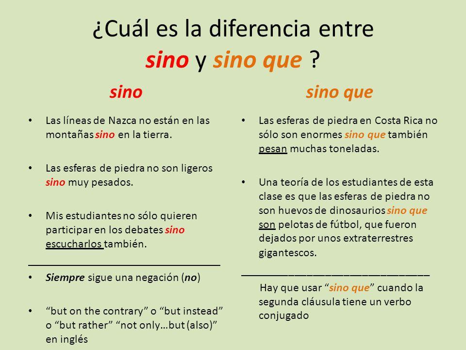 ¿Cuál es la diferencia entre sino y sino que .