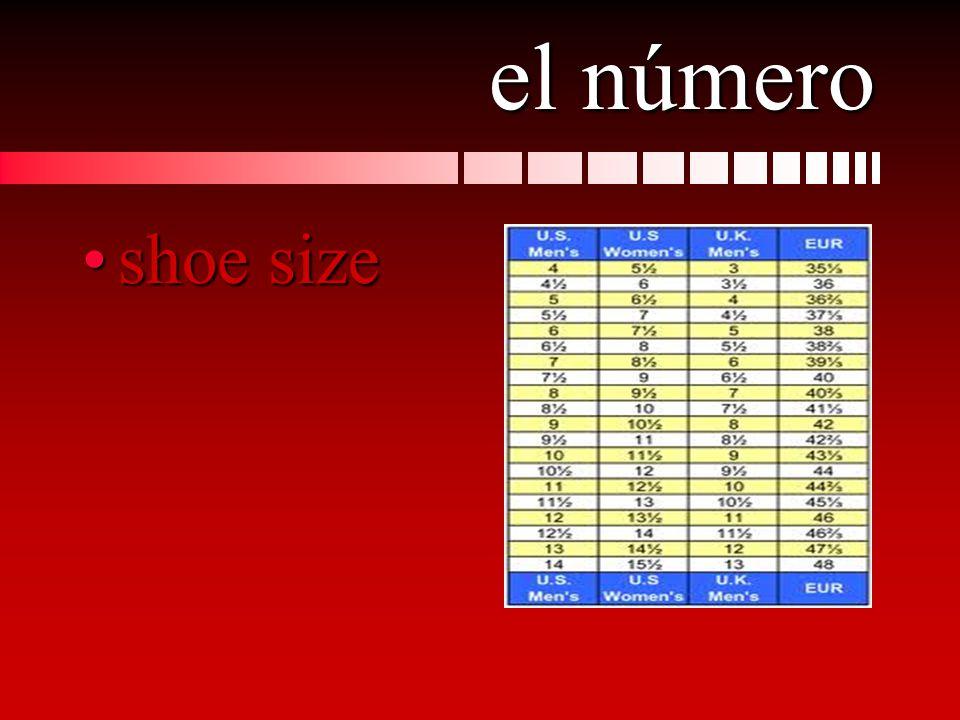 el número shoe sizeshoe size