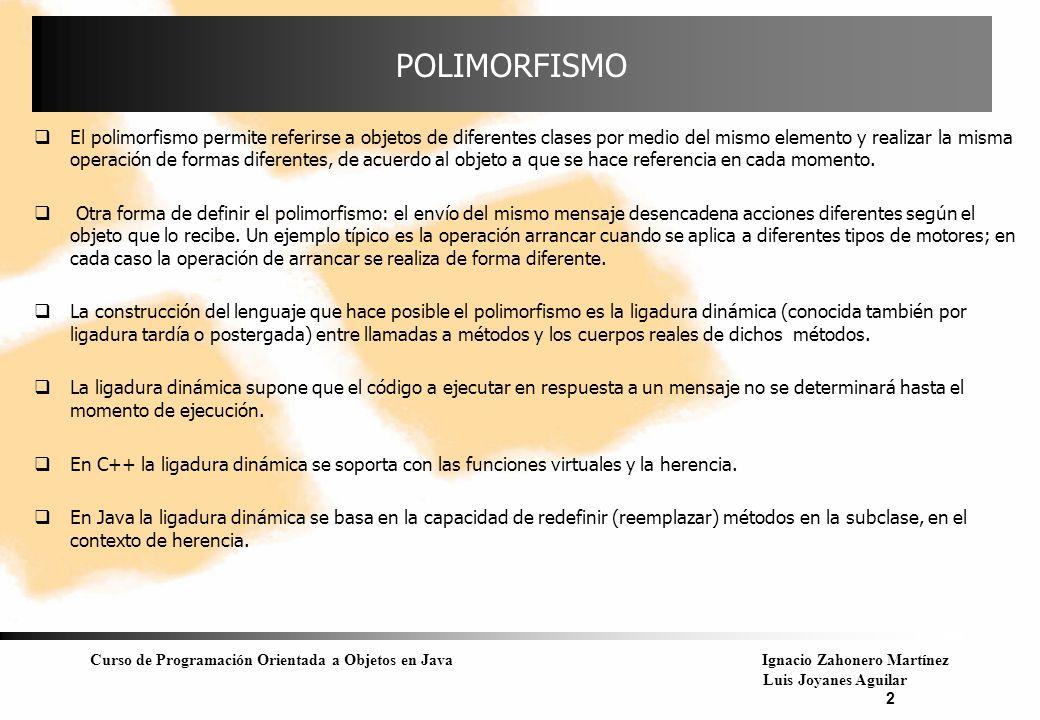 Curso de Programación Orientada a Objetos en JavaIgnacio Zahonero Martínez Luis Joyanes Aguilar 2 POLIMORFISMO El polimorfismo permite referirse a obj