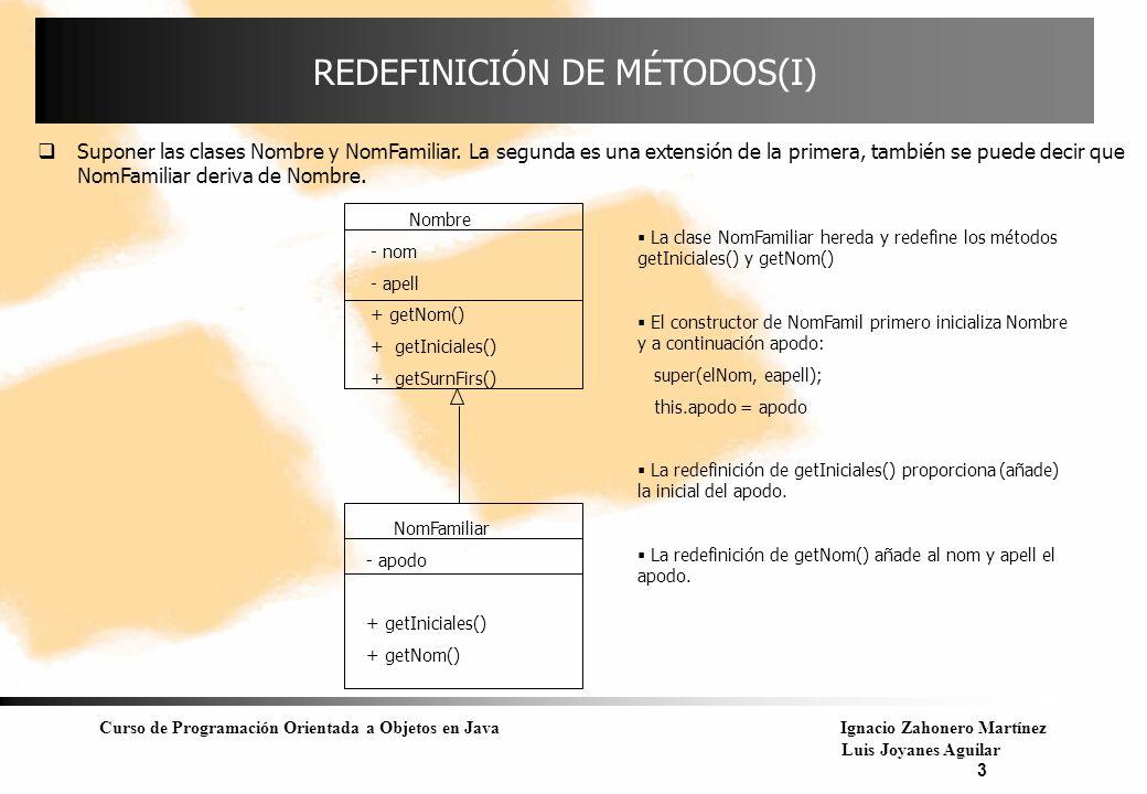 Curso de Programación Orientada a Objetos en JavaIgnacio Zahonero Martínez Luis Joyanes Aguilar 4 REDEFINICIÓN(II) Se van a crear dos objetos de las clases Nombre y NomFamiliar: Nombre uno = new Nombre( Paloma , Zaho ); NomFamiliar dos = new NomFamiliar( Paloma , Zaho , Palo ); Ahora se invocan los métodos: String q = uno.getIniciales(); // método de Nombre y referenciado por var del tipo Nombre String w = dos.getIniciales(); // método de NomFamiliar y referenciado por var de ese tipo String f = dos.getSurnFirs(); // no es método de NomFamiliar pero es heredado de Nombre Si ahora se crea este objeto: Nombre uno = new NomFamiliar( Maria , Zaho , Ofilia ); válido porque se puede utilizar un objeto subclase en cualquier lugar que esté permitido un objeto del tipo superclase.