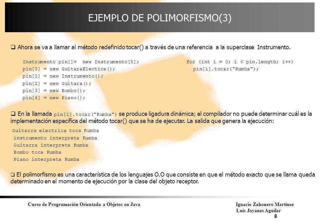 Curso de Programación Orientada a Objetos en JavaIgnacio Zahonero Martínez Luis Joyanes Aguilar 8 EJEMPLO DE POLIMORFISMO(3) Ahora se va a llamar al m