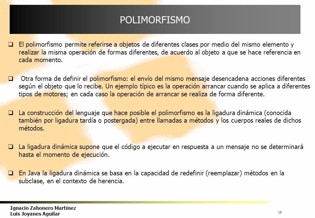 20 Ignacio Zahonero Martínez Luis Joyanes Aguilar POLIMORFISMO Conclusión : En una jerarquía de herencia, cuando se llama a métodos desde una referencia a la superclase que han sido redefinidos en las clases derivadas, lo que se tiene en cuenta es el tipo del objeto actual referenciado.