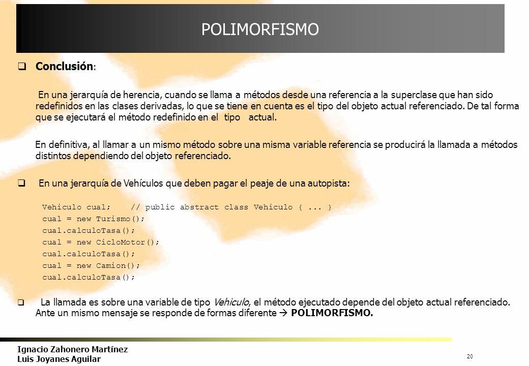 21 Ignacio Zahonero Martínez Luis Joyanes Aguilar USO DEL POLIMORFISMO El polimorfismo se puede representar con un array de elementos que se refieren a objetos de diferentes tipos (clases), como sugiere Meyer.