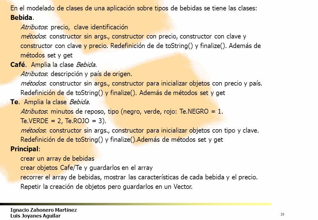 27 Ignacio Zahonero Martínez Luis Joyanes Aguilar Clase abstracta Bebida.
