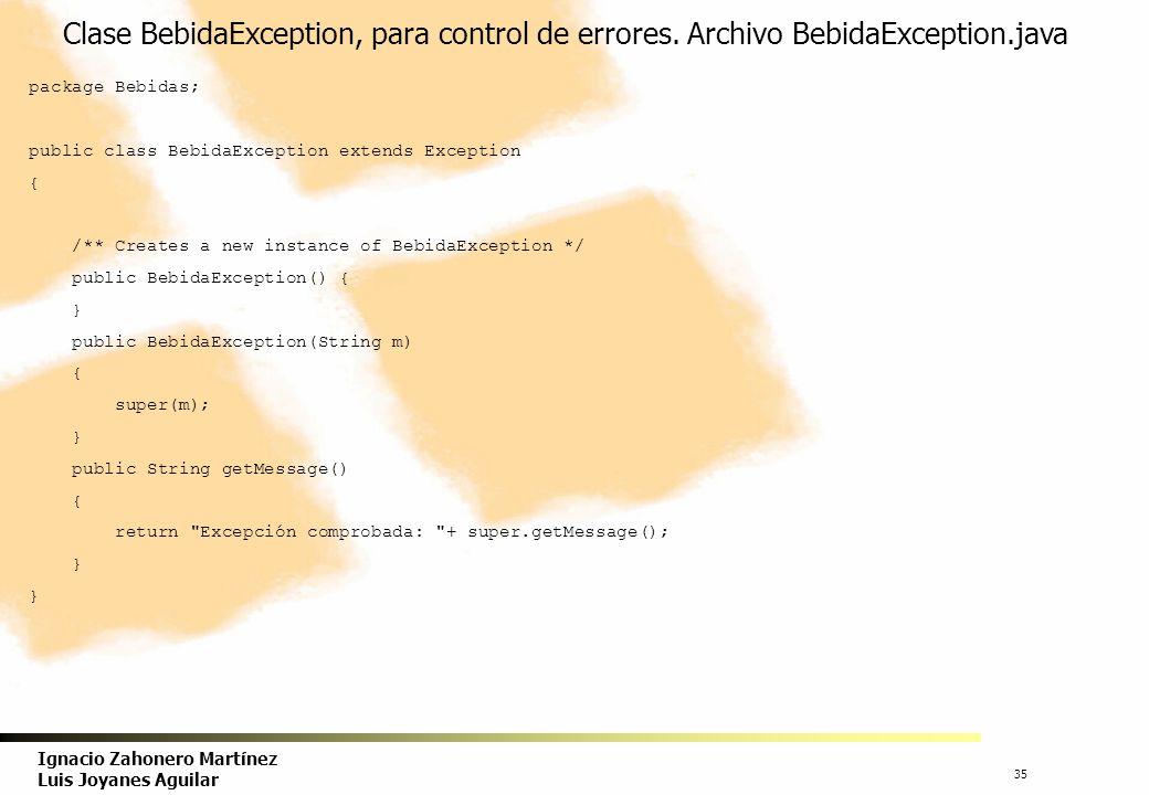 36 Ignacio Zahonero Martínez Luis Joyanes Aguilar Aplicación, en el método main() de la clase de prueba, se crean objetos de tipo Café o Te, se guardan en un array y, en paralelo, en un contenedor de tipo ArrayList.
