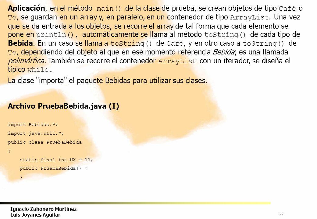 37 Ignacio Zahonero Martínez Luis Joyanes Aguilar Archivo PruebaBebida.java (II) public static void main(String[]a) { Bebida[] b; ArrayList ab; Scanner entrada = new Scanner(System.in); String idt; double precio; int i, op; i = 0; b = new Bebida[MX]; ab = new ArrayList (); do { System.out.