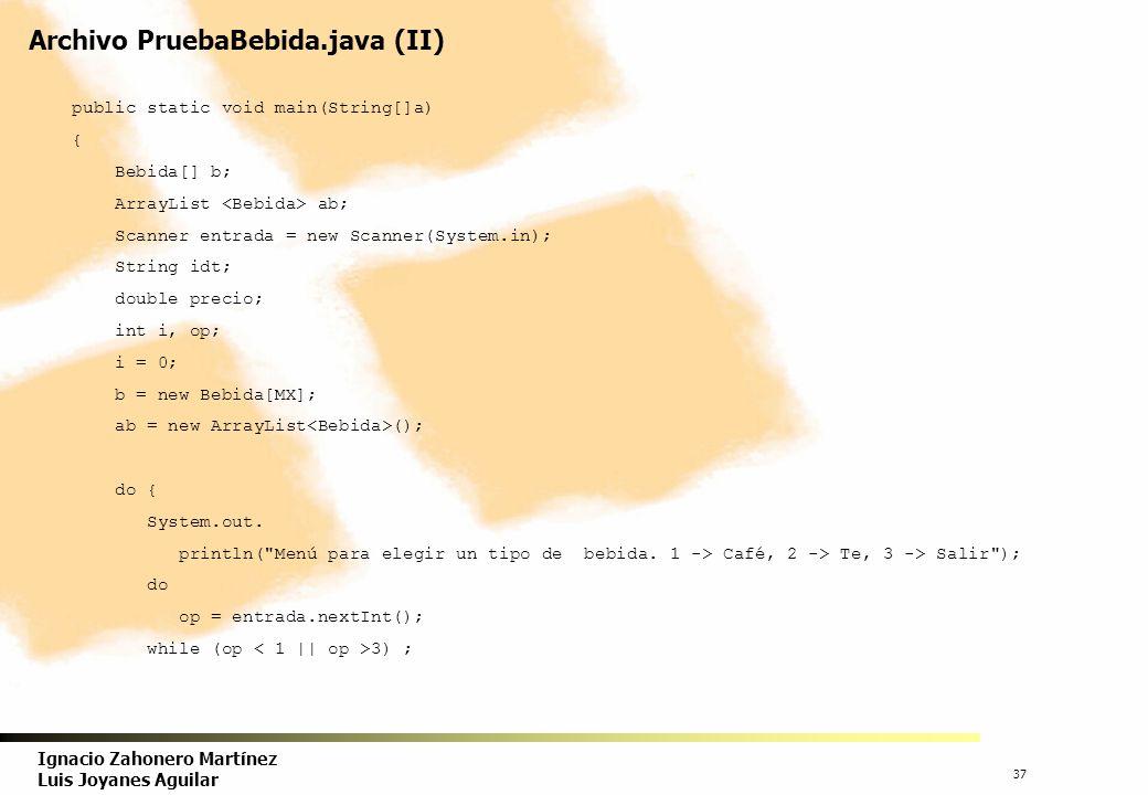 38 Ignacio Zahonero Martínez Luis Joyanes Aguilar Archivo PruebaBebida.java (III) try { switch (op) { case 1 : String cp, ds; System.out.println( Bebida elegida café; teclea precio y código ); precio = entrada.nextDouble(); idt = entrada.next(); System.out.println( Pais de origen ); cp = entrada.next(); System.out.println( Descripción ); ds = entrada.next(); Cafe cf; cf = new Cafe(precio, cp); // inicializa al precio y pais de origen cf.setDescripcion(ds); cf.set(idt); // identificación // asigna el objeto if (i < b.length) b[i++] = cf; ab.add(cf); break;